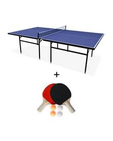 Table de ping pong INDOOR bleue Nagano- table avec 2 raquettes et 4 b