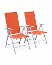 Lot de 2 fauteuils multi-positions Naevia en aluminium blanc et textilène orange