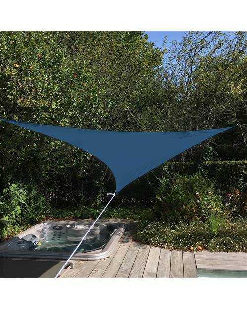 Voile d'ombrage triangulaire extensible EASYWIND 4 x 4 x 5,7m - bleu - Anti UV UPF 50+