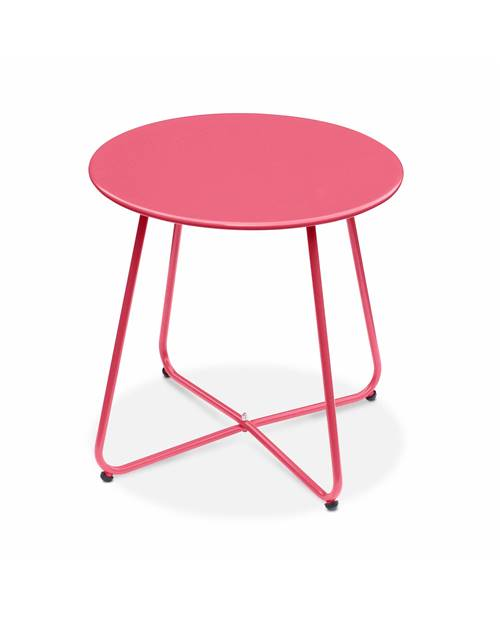 Table basse ronde – Cecilia rouge framboise– Table d'appoint ronde Ø45cm, acier thermolaqué