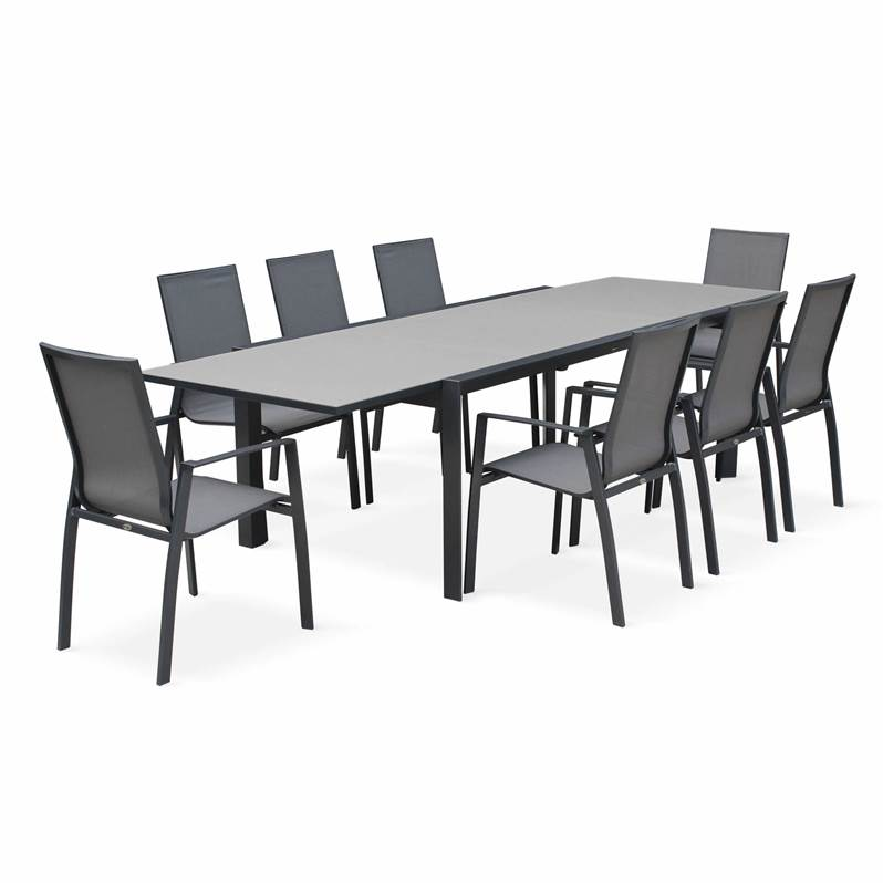 Salon de jardin table extensible - Washington Gris foncé - Table en ...