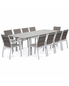Salon de jardin - Chicago Blanc / Taupe - Table extensible 175/245cm avec rallonge et 8 assises en t