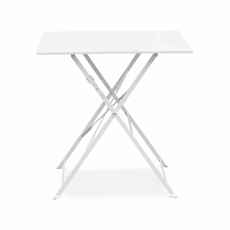 Salon de jardin bistrot pliable Emilia carré Blanc, table 70x70cm ...