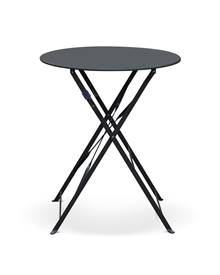 Table de jardin bistrot pliable - Emilia ronde anthracite- Table ronde Ø60cm en acier thermolaqué