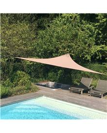 Voile d'ombrage triangulaire extensible EASYWIND 3,6 x 3,6 x 3,6m - Taupe - Anti UV UPF 50+