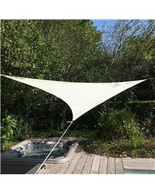 Voile d'ombrage triangulaire extensible EASYWIND 5 x 5 x 5m - Ecru - Anti UV UPF 50+