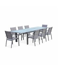 Salon de jardin table extensible - Philadelphie Gris clair - Table en aluminium 200/300cm, plateau d