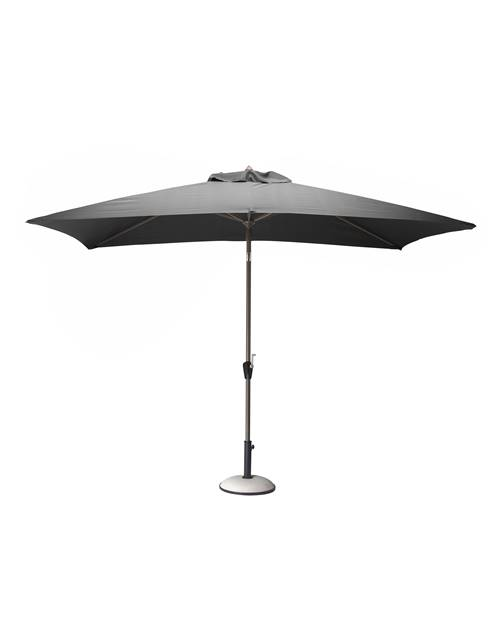 Parasol inclinable 3x2m/6 baleines gris grade 6 en alu/polyester