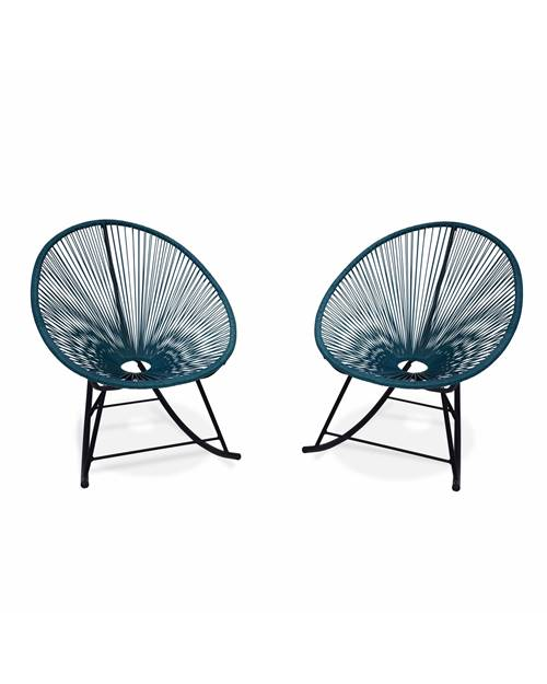 2 fauteuils à bascule design Oeuf - Acapulco rocking Bleu canard - Fauteuils design, rocking chair,