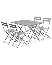 Table de jardin bistrot pliable - Emilia rectangle gris taupe- Table rectangle 110x70cm en acier the