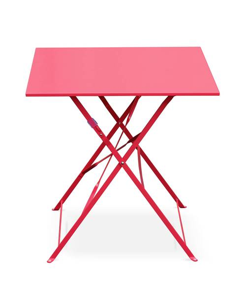 Table jardin bistrot pliable - Emilia carrée rouge framboise- Table carrée 70x70cm en acier thermola