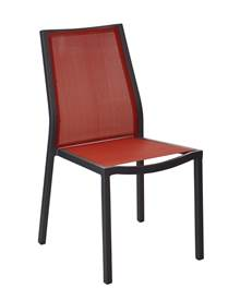 Lot de 2 chaises de jardin empilables Ida gris/rouge en alu epoxy/tp