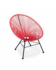 Fauteuil Acapulco chaise oeuf design rétro cordage Corail