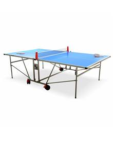 Table de ping pong OUTDOOR bleue - table pliable avec 2 raquettes et