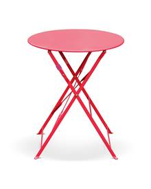 Table de jardin bistrot pliable - Emilia ronde rouge framboise- Table ronde Ø60cm en acier thermolaq