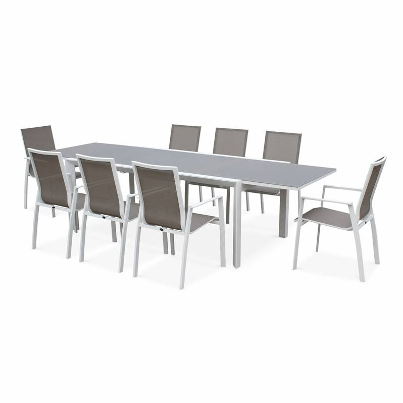 Salon de jardin table extensible - Washington Taupe - Table en aluminium  200/300cm, plateau en verre