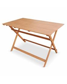 Table de jardin en bois bistrot pliable Léon, table rectangle pliable 120x70cm avec quatre chaises p