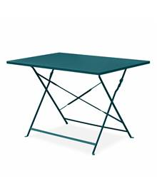 Salon de jardin bistrot pliable - Emilia rectangulaire bleu canard - Table rectangulaire 110x70cm av