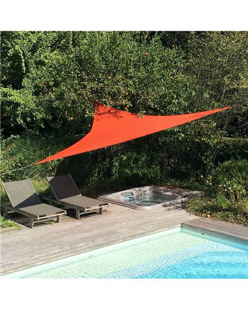 Voile d'ombrage triangulaire extensible EASYWIND 5 x 5 x 5m - Terracotta - Anti UV UPF 50+