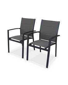 Lot de 2 fauteuils Detroit - Aluminium anthracite et textilène marron
