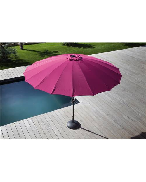 Parasol inclinable à manivelle Pagode Ø3m/18 baleines framboise en fi
