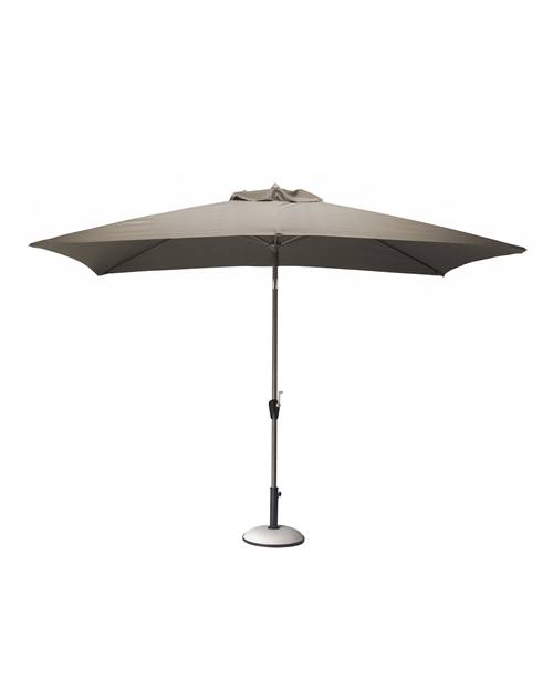 Parasol inclinable 3x2m/6 baleines taupe grade 6 en alu/polyester