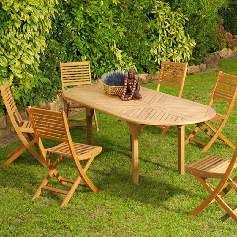 salon jardin eucalyptus 6 chaises saturnet une table Durban - Willemse