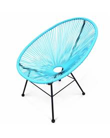 Fauteuil design Oeuf - Acapulco Turquoise - Fauteuil design cordage PVC