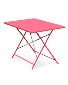 Table de jardin bistrot pliable - Emilia rectangle rouge framboise- Table rectangle 110x70cm en acie