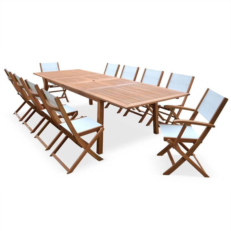 Salon de jardin en bois extensible - Almeria - Grande table 200/250/3