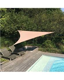 Voile d'ombrage triangulaire extensible EASYWIND 5 x 5 x 5m - Taupe - Anti UV UPF 50+
