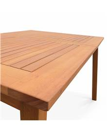 Table de jardin en bois 180-240cm - Almeria - Grande table rectangulaire avec allonge eucalyptus FSC