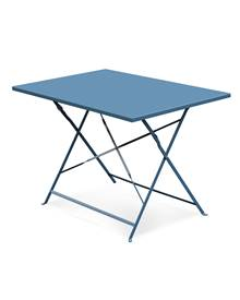 Table de jardin bistrot pliable - Emilia rectangle bleu grisé- Table rectangle 110x70cm en acier the