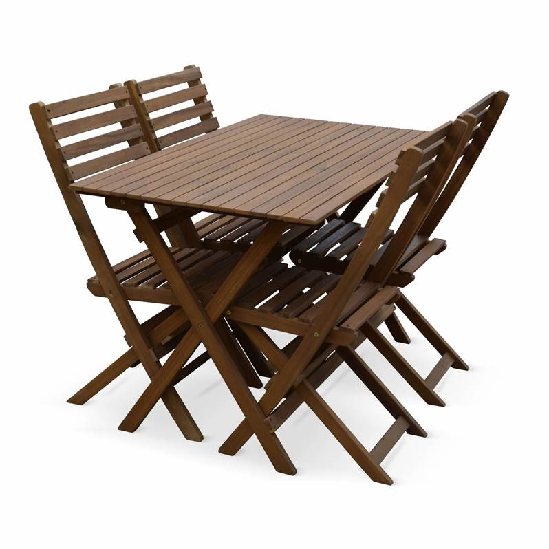 Table de jardin en bois 120x70cm - Madrid - Table bistrot pliante ...