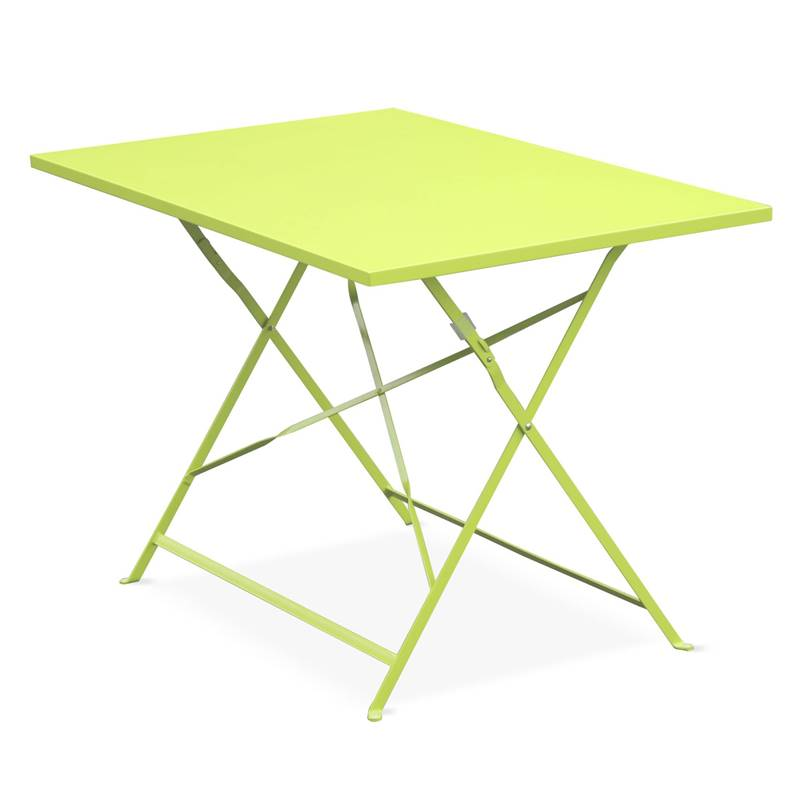 Table de jardin bistrot pliable - Emilia rectangle verte- Table rectangle  110x70cm en acier thermola