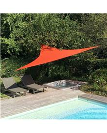 Voile d'ombrage triangulaire extensible EASYWIND 3,6 x 3,6 x 3,6m - Terracotta - Anti UV UPF 50+