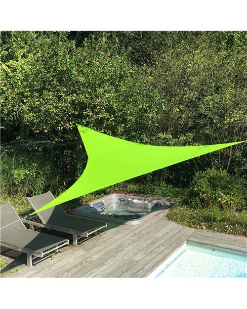 Voile d'ombrage triangulaire extensible EASYWIND 3,6 x 3,6 x 3,6m - vert - Anti UV UPF 50+
