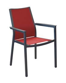 Lot de 2 fauteuils de jardin empilables Ida gris/rouge en alu epoxy/