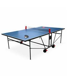 Table de ping pong INDOOR bleue - table pliable avec 2 raquettes et 3